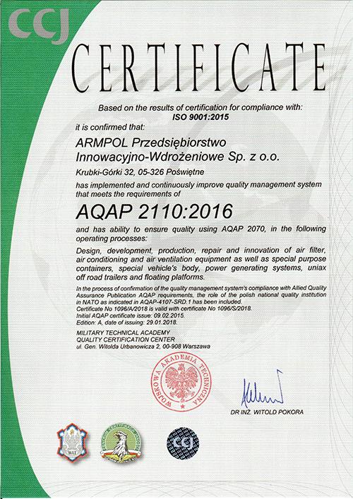 AQUAP certificate
