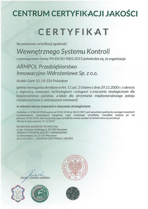 Certyfikat Wewnętrznego Systemu Kontroli