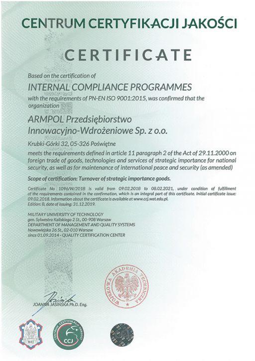 Internal Control System Certificate